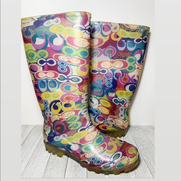 Coach Multi-color Monogram Knee High Rain Boots